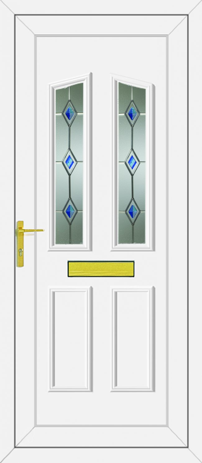 Clinton Blue Fusion Silver UPVC Door