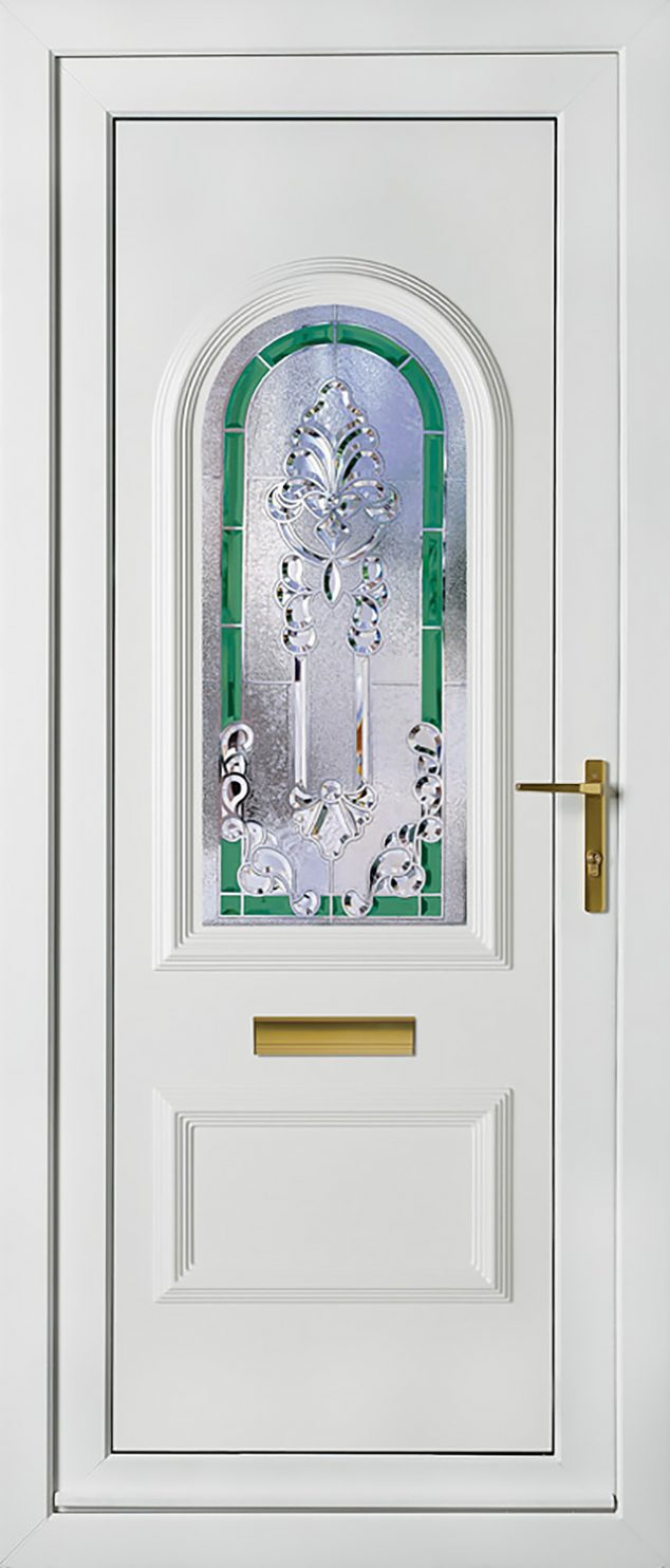 Rockingham 1 Green Crystal Aurora UPVC Door