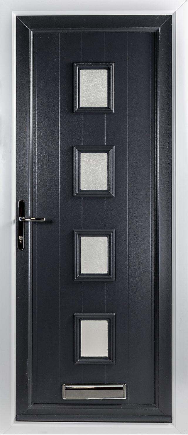 Hayes Four Glazed Black uPVC Door